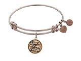 "Antique Pink Smooth Finish Brass ""live, Love, Laugh"" Angelica Expandable Bangle style: PGEL1010"