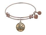 "Antique Pink Stipple Finish Brass ""I Love You"" Angelica Expandable Bangle style: PGEL1011"