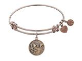 "Angelica Collection Antique Pink Stipple Finish Brass ""love W/rose"" Expandable Bangle style: PGEL1014"