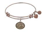 "Antique Pink Stipple Finish Brass ""hugs and Kisses""  Angelica Expandable Bangle style: PGEL1040"