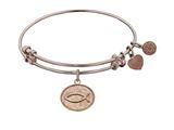 "Angelica Collection Non-antique Pink Stipple Finish Brass ""christian Fish"" Expandable Bangle style: PGEL1048"