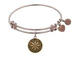 "Antique Pink Smooth Finish Brass ""compass""  Angelica Expandable Bangle style: PGEL1055"