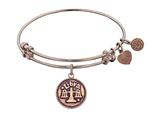 "Antique Pink Smooth Finish Brass ""libra""-september  Angelica Expandable Bangle"