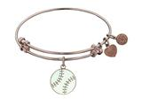 "Non-antique Pink Stipple Finish Brass With Enamel ""baseball"" Angelica Expandable Bangle"