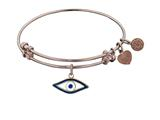"Non-antique Pink Stipple Finish Brass With Enamel ""evil Ey""e Angelica Expandable Bangle"