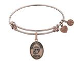 Angelica Collection Brass with Pink Finish Proud Mom U.S. Marine Corps Oval Expandable Bangle style: PGEL1279