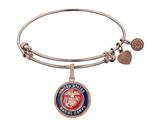 Brass with Pink Finish Enamel U.S. Marine Corps Round Angelica Expandable Bangle style: PGEL1281