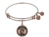 Brass with Pink Finish Proud Daughter U.S. Marine Corps Round Angelica Expandable Bangle style: PGEL1283