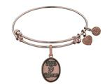 Angelica Collection Brass with Pink Finish Always Faithful U.S. Marine Corps Oval Expandable Bangle style: PGEL1286