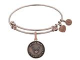 Angelica Collection Brass with Pink Finish Proud Mom U.S. Air Force Round Expandable Bangle style: PGEL1290