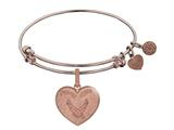Brass with Pink Finish Proud Wife U.S. Air Force Heart Shaped Angelica Expandable Bangle style: PGEL1292