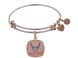 Brass with Pink Finish U.S. Air Force Enamel Symbol Angelica Expandable Bangle style: PGEL1294