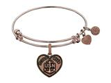 Brass with Pink Finish Proud Wife U.S. Navy Heart Shaped Angelica Expandable Bangle style: PGEL1311