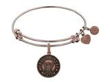 Brass with Pink Finish Proud Sister U.S. Navy Round Angelica Expandable Bangle style: PGEL1321