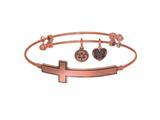 Brass with Pink Finish Sideways Cross Angelica Expandable Bangle style: PGEL1337
