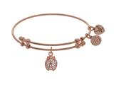 Brass With Pink Finish Charm With White CZ Ladybu G On Pink Angelica Collection Bangle style: PGEL1524