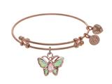 Brass With Pink Finish Charm On Pink Angelica Collection Bangle style: PGEL1764