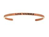 "Intuition Stainless Steel Pink Finish ""love Yourself""Cuff Bangle style: PINT5031"