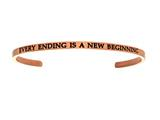 "Intuition Stainless Steel Pink Finish ""every Ending Is A New Beginning""Cuff Bangle style: PINT5073"