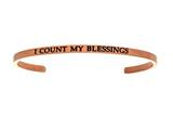 "Intuition Stainless Steel Pink Finish ""i Count My Blessings""Cuff Bangle style: PINT5075"