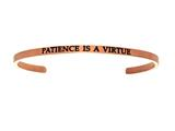 "Intuition Stainless Steel Pink Finish ""patience Is A Virtue""Cuff Bangle style: PINT5080"
