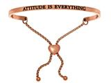 "Intuition Stainless Steel Pink Finish ""attitude Is Everything""adjustable Friendship Bracelet style: PINT7002"