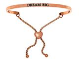 "Intuition Stainless Steel Pink Finish ""dream Big""adjustable Friendship Bracelet style: PINT7006"