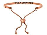 "Intuition Stainless Steel Pink Finish ""i'm A Survivor""adjustable Friendship Bracelet style: PINT7022"