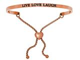 "Intuition Stainless Steel Pink Finish ""live Love Laugh""adjustable Friendship Bracelet style: PINT7032"