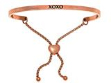 "Intuition Stainless Steel Pink Finish ""xoxo""adjustable Friendship Bracelet style: PINT7050"