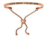 "Intuition Stainless Steel Pink Finish ""i Love Being Called Mom""adjustable Friendship Bracelet style: PINT7062"