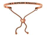 "Intuition Stainless Steel Pink Finish ""i""m A Hopeless Romantic""adjustable Friendship Bracelet style: PINT7076"