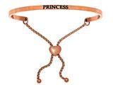 "Stainless Steel Pink Finish ""princess""adjustable Friendship Bracelet style: PINT7079"