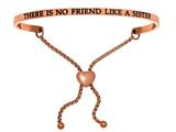"Intuition Stainless Steel Pink Finish ""there Is No Friend Like A Sister""adjustable Friendship Bracelet style: PINT7080"
