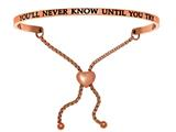 "Stainless Steel Pink Finish ""you'll Never Know Until You Try""adjustable Friendship Bracelet style: PINT7082"