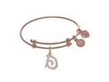 Brass With Pink Finish Charm Initial D On Pink Angelica Tween Bangle style: PTGEL9053