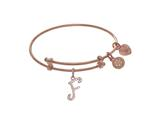 Brass With Pink Finish Charm Initial F On Pink Angelica Tween Bangle style: PTGEL9055