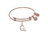 Brass With Pink Finish Charm Initial G On Pink Angelica Tween Bangle style: PTGEL9056