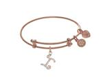 Brass With Pink Finish Charm Initial I On Pink Angelica Tween Bangle style: PTGEL9058