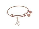 Brass With Pink Finish Charm Initial R On Pink Angelica Tween Bangle style: PTGEL9067