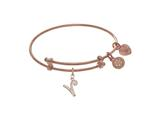 Brass With Pink Finish Charm Initial V On Pink Angelica Tween Bangle style: PTGEL9071