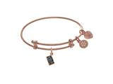 Brass With Pink Cell Phone Charm On Pink Angelica Collection Tween Bangle style: PTGEL9086
