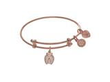 Yellow Finish Expandable Tween Brass With Lady Bug With CZ On Pink Angelica Collection Tween Bangle style: PTGEL9112