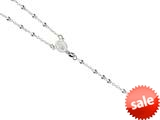 26 inches Silver Rhodium 3MM Rosary Bead Necklace