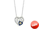 Sterling Silver 18 Inch Heart Necklace With Evil Eye