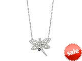 Sterling Silver 18 Inch Dragonfly Necklace With Evil Eye