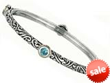 Phillip Gavriel 18K Yellow Gold and Sterling Silver Bangle With Four Blue Topaz Gems