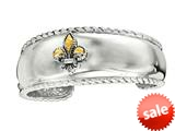 Phillip Gavriel  Sterling Silver and Fleur De Lis in 18K Yellow Gold Cuff Bangle