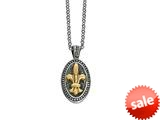 Phillip Gavriel 18K Yellow Gold and Sterling Silver Fleur De Lis Pendant With 18 inches Chain