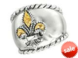 Phillip Gavriel 18K Yellow Gold and Sterling Silver Fleur De Lis Ring